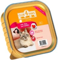 Корм для кошек Club 4 Paws Packaging Pate with Veal/Turkey 0.1 kg
