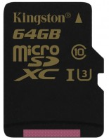 Карта памяти Kingston Gold microSDXC UHS-I U3 64Gb