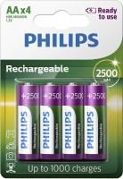 Аккумуляторная батарейка Philips Rechargeable 4xAA 2500 mAh