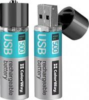 Аккумуляторная батарейка ColorWay 2xAA 1200 mAh USB
