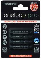 Аккумуляторная батарейка Panasonic Eneloop Pro 4xAAA 900 mAh