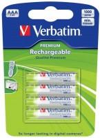 Аккумуляторная батарейка Verbatim Premium 4xAAA 1000 mAh