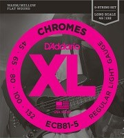Струны DAddario XL Chromes Bass Flat Wound 5-String 45-132