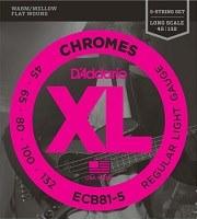 Фото - Струны DAddario XL Chromes Bass Flat Wound 5-String 45-132