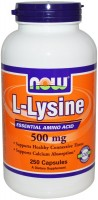 Фото - Аминокислоты Now L-Lysine 500 mg 250 cap