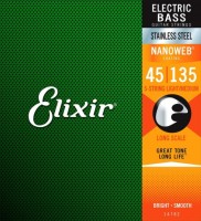 Струны Elixir Bass Stainless Steel Nanoweb 5-String 45-135