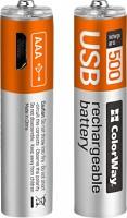 Аккумуляторная батарейка ColorWay 2xAAA 400 mAh micro USB