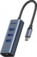 Картридер/USB-хаб BASEUS USB-C to 3xUSB3.0 and RJ45 port HUB
