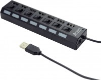 Картридер/USB-хаб Gembird UHB-U2P7-03