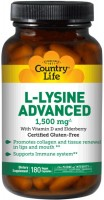Фото - Амінокислоти Country Life L-Lysine Advanced 1500 mg 180 cap