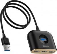 Кардридер / USB-хаб BASEUS Square Round 4 in 1 USB HUB Adapter